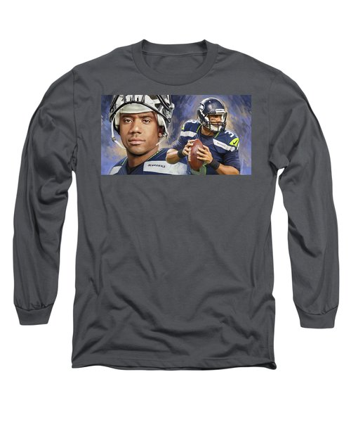 Long Sleeve T-Shirt featuring the painting Russell Wilson Artwork by Sheraz A