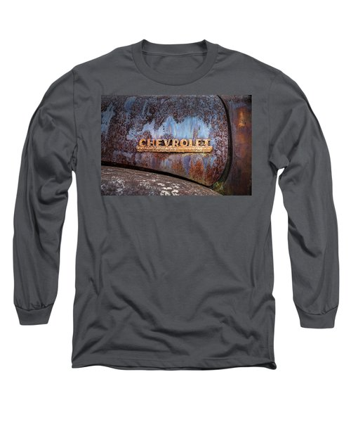 Long Sleeve T-Shirt featuring the photograph Rusty Chevrolet - Nameplate - Old Chevy Sign by Gary Heller