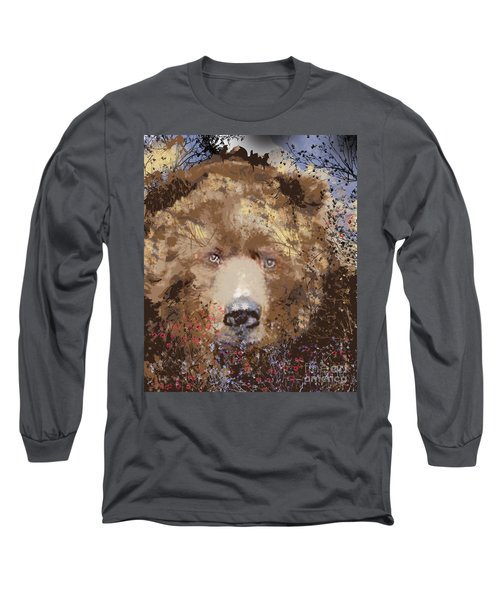 Long Sleeve T-Shirt featuring the digital art Sad Brown Bear by Kim Prowse