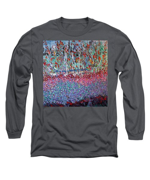 Sailing Among The Flowers Long Sleeve T-Shirt by George Riney