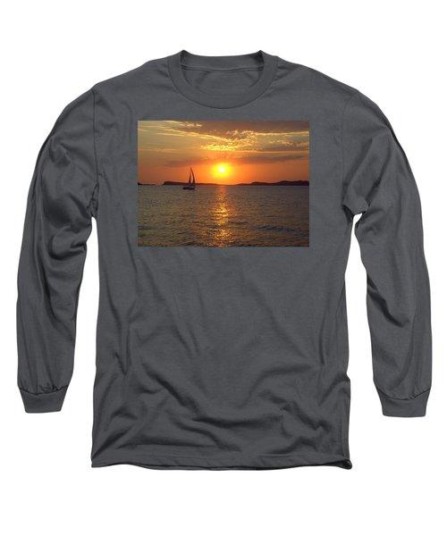 Sailing Boat In Ibiza Sunset Long Sleeve T-Shirt