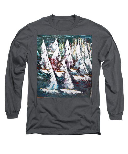 Sailing With Friends - Sold Long Sleeve T-Shirt by George Riney