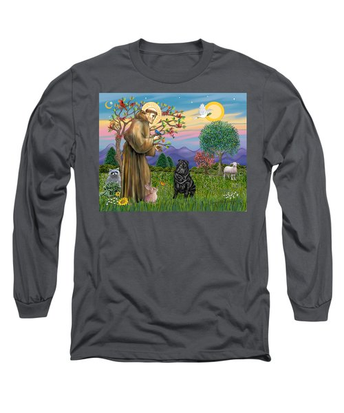Saint Francis Blesses A Black Chinese Shar Pei Long Sleeve T-Shirt