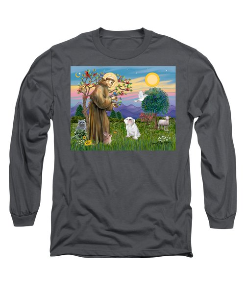 Saint Francis Blesses An English Bulldog Long Sleeve T-Shirt