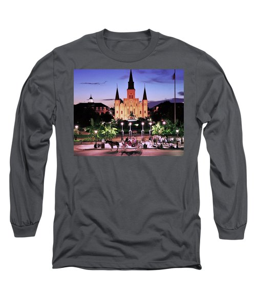 Saint Louis Cathedral New Orleans Long Sleeve T-Shirt by Allen Beatty