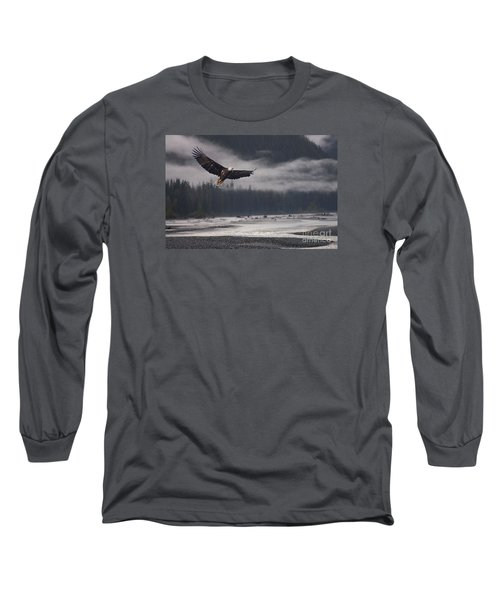 Salmon River Mist Long Sleeve T-Shirt by Stanza Widen