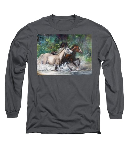 Salt River Horseplay Long Sleeve T-Shirt by Karen Kennedy Chatham