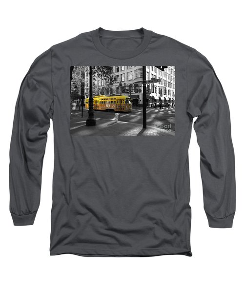 San Francisco Vintage Streetcar On Market Street - 5d19798 - Black And White And Yellow Long Sleeve T-Shirt