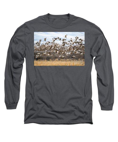Sandhill Crane Explosion Long Sleeve T-Shirt