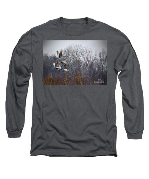 Sandhill Cranes Takeoff Long Sleeve T-Shirt