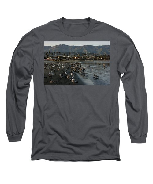 Long Sleeve T-Shirt featuring the photograph Santa Barbara Beach Crowd  by Georgia Mizuleva