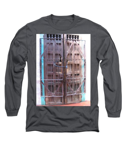 Long Sleeve T-Shirt featuring the photograph Santa Fe Old Door by Dora Sofia Caputo Photographic Art and Design