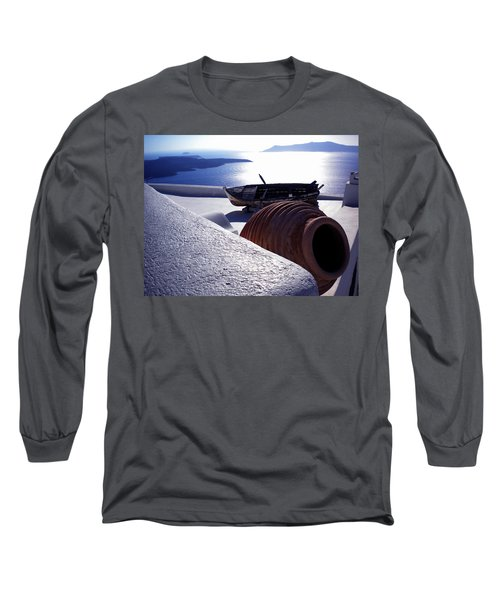 Santorini Island Early Sunset View Greece Long Sleeve T-Shirt