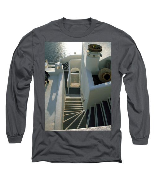 Long Sleeve T-Shirt featuring the photograph Santorini Stairs by Colette V Hera  Guggenheim