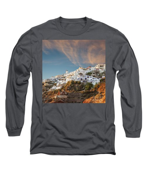 Santorini Windmill At Dusk Long Sleeve T-Shirt by Antony McAulay