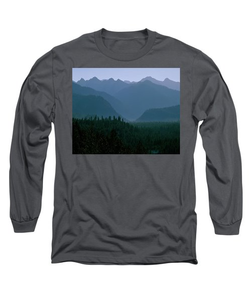 Sawtooth Mountains Silhouette Long Sleeve T-Shirt by Ed  Riche