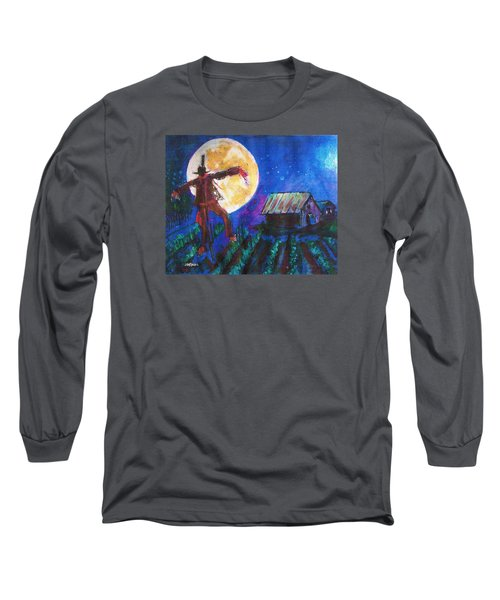Long Sleeve T-Shirt featuring the painting Scarecrow Dancing With The Moon by Seth Weaver