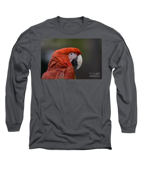 Scarlet Macaw Long Sleeve T-Shirt by David Millenheft