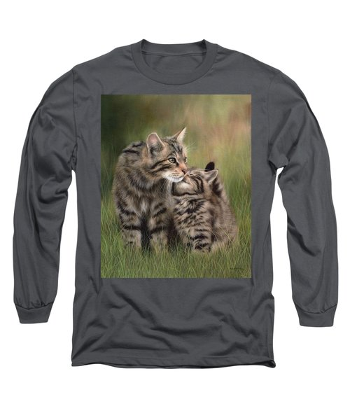 Scottish Wildcats Painting - In Support Of The Scottish Wildcat Haven Project Long Sleeve T-Shirt
