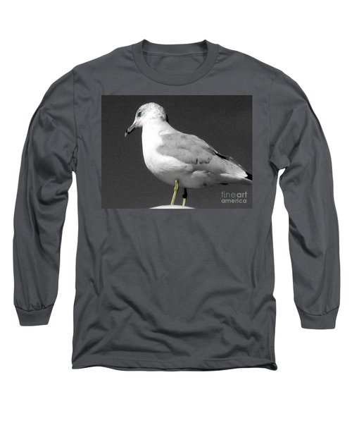 Long Sleeve T-Shirt featuring the photograph Seagull In Black And White by Nina Silver