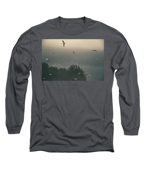 Seagulls In A Storm Long Sleeve T-Shirt