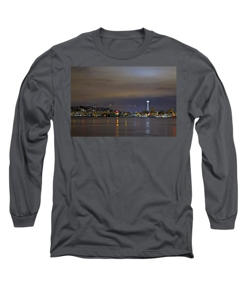 Seattle Cityscape At Night Long Sleeve T-Shirt