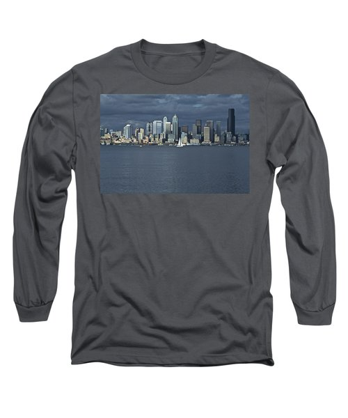 Seattle Cityscape From Alki Beach Long Sleeve T-Shirt