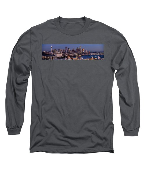 Seattle Skyline From Magnolia At Dusk Long Sleeve T-Shirt