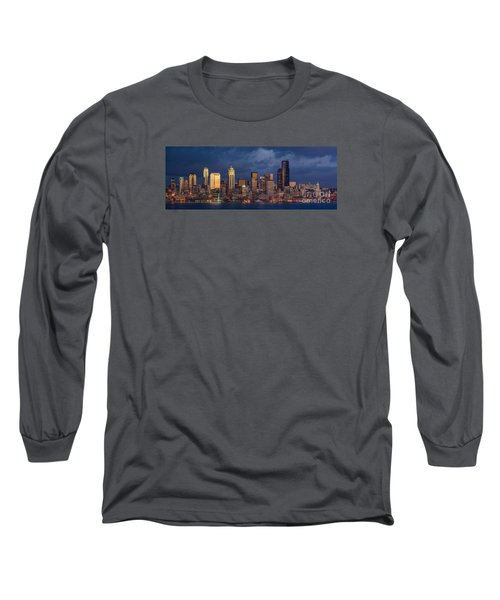 Seattle Skyline Sunset Detail Long Sleeve T-Shirt by Mike Reid
