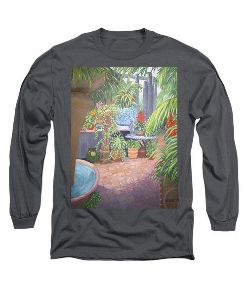 Long Sleeve T-Shirt featuring the painting Secret Garden by Karen Zuk Rosenblatt