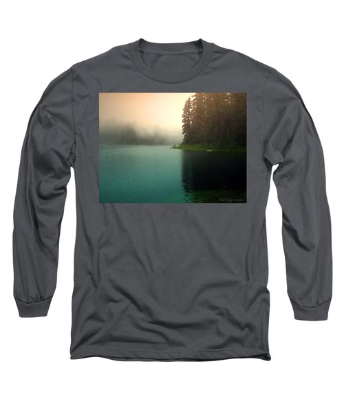 Serenity On Blue Lake Foggy Afternoon Long Sleeve T-Shirt