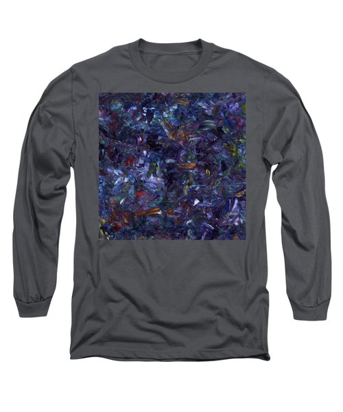 Long Sleeve T-Shirt featuring the painting Shadow Blue Square by James W Johnson