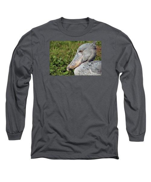 Long Sleeve T-Shirt featuring the photograph Shoebill Balaeniceps Rex by Liz Leyden