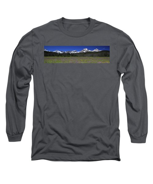 Showy Penstemon Wildflowers Sawtooth Mountains Long Sleeve T-Shirt