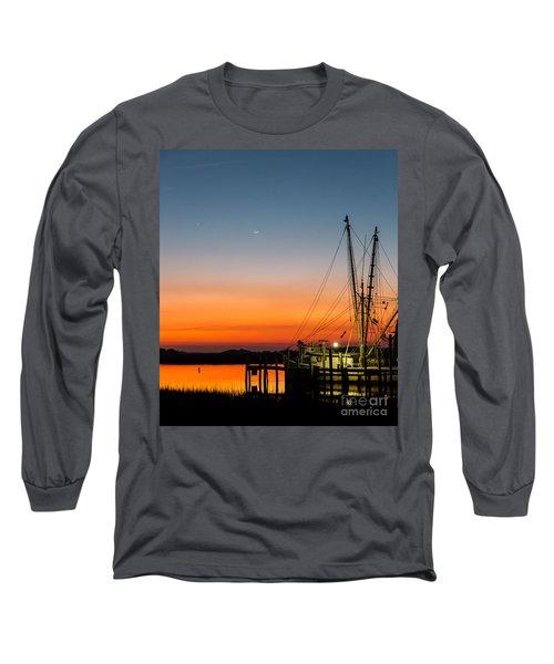 Shrimp Boat At Dusk Folly Beach Long Sleeve T-Shirt