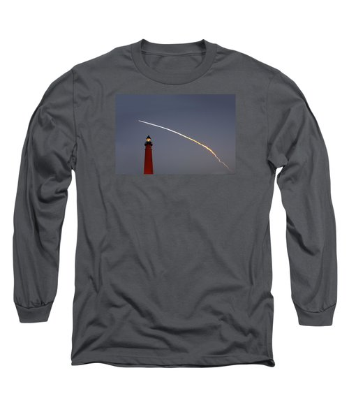 Long Sleeve T-Shirt featuring the photograph Shuttle Discovery Liftoff Over Ponce Inlet Lighthouse by Paul Rebmann