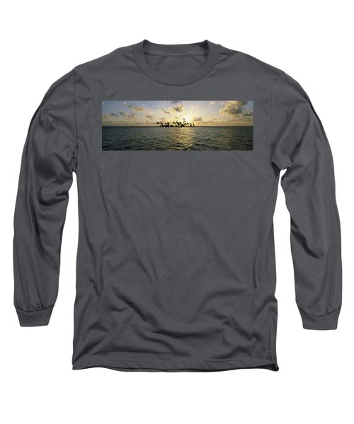 Silhouette Of Palm Trees On An Island Long Sleeve T-Shirt