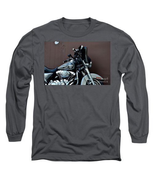 Long Sleeve T-Shirt featuring the photograph Silver Harley Motorcycle by Imran Ahmed