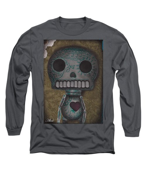 Skelly With A Heart Long Sleeve T-Shirt by Abril Andrade Griffith