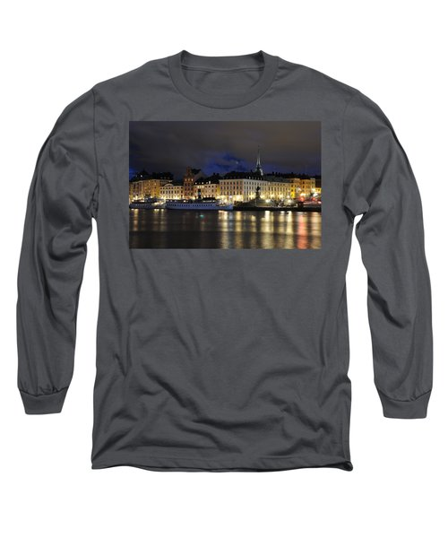 Long Sleeve T-Shirt featuring the photograph Skeppsbron At Night by Jeremy Voisey