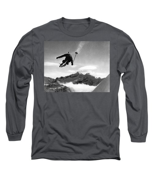 Skiing Over Mt. Ranier Long Sleeve T-Shirt