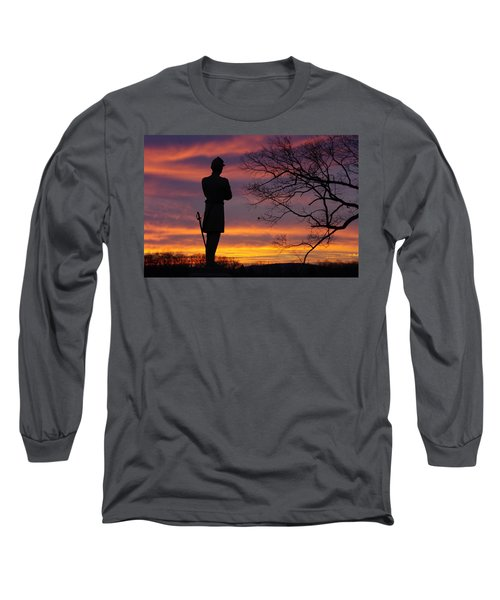 Long Sleeve T-Shirt featuring the photograph Sky Fire - 124th Ny Infantry Orange Blossoms-1a Sickles Ave Devils Den Sunset Autumn Gettysburg by Michael Mazaika