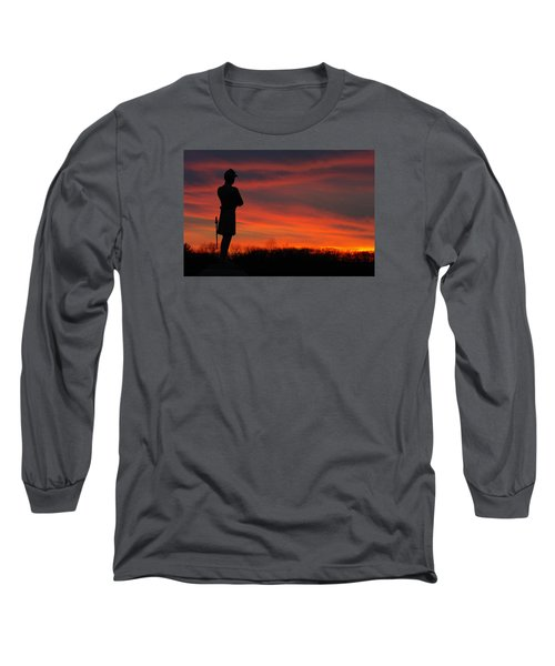Long Sleeve T-Shirt featuring the photograph Sky Fire - Aotp 124th Ny Infantry Orange Blossoms-2a Sickles Ave Devils Den Sunset Autumn Gettysburg by Michael Mazaika