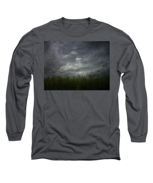 Sky With Cornfield Long Sleeve T-Shirt by Cynthia Lassiter
