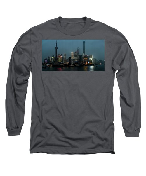 Skylines At The Waterfront At Night Long Sleeve T-Shirt