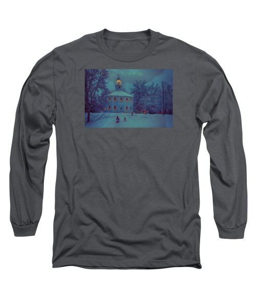 Sledding At The Old Round Church Long Sleeve T-Shirt by Jeff Folger