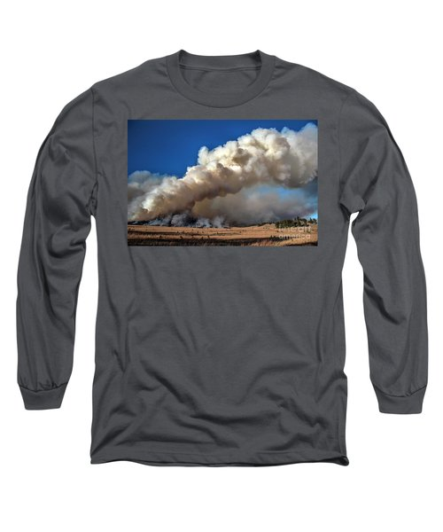 Long Sleeve T-Shirt featuring the photograph Smoke Column From The Norbeck Prescribed Fire. by Bill Gabbert