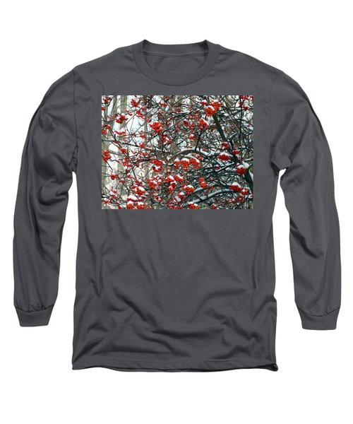 Snow- Capped Mountain Ash Berries Long Sleeve T-Shirt