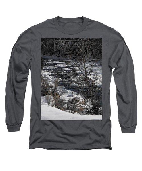 Snow Capped Stream Long Sleeve T-Shirt by Adam Cornelison