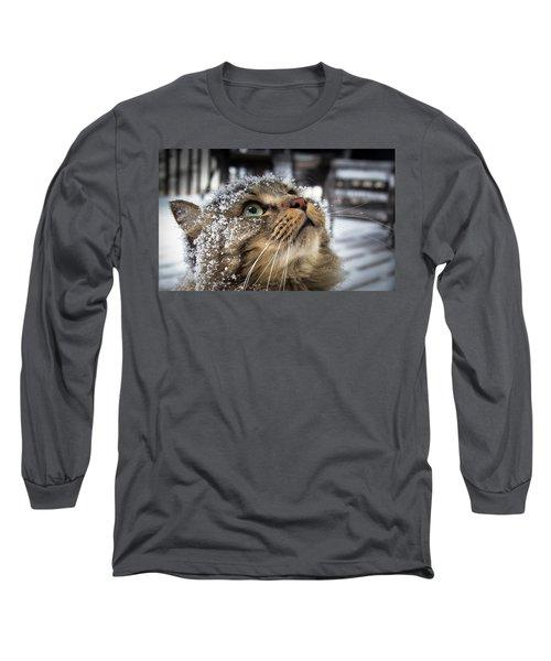 Snow Cat Long Sleeve T-Shirt by Shane Holsclaw